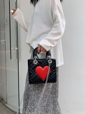 Red Heart Shape Square Ladies Handbags With Chain