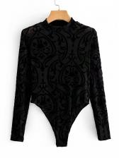 Printed Stand Collar Long Sleeve Bodysuit