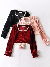 Vintage Velvet Chinese Style Buckle Cropped Blouse