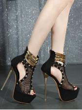Rivet Hollow Platform Buckle Strap Sexy Shoes