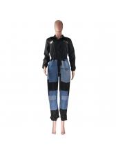Badge Color Block Denim Patchwork Long Sleeve Jumpsuit
