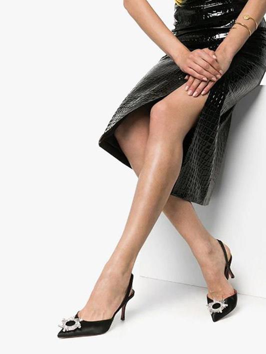 Rhinestones Decorated Pointed Toe Ladies Slingback