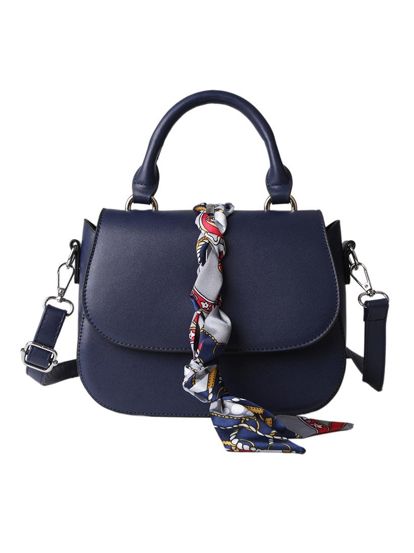 Pure Color Ribbon Pu Small Shoulder Bag