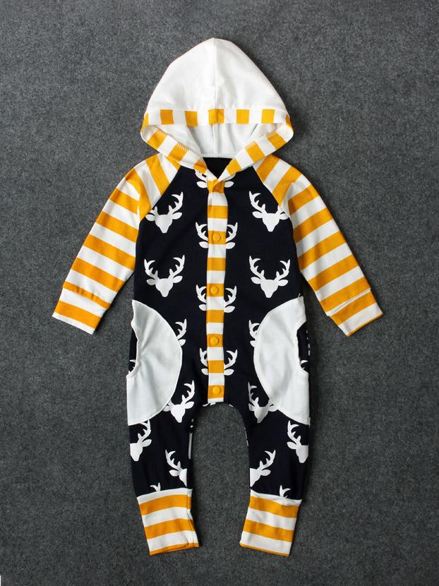 Hooded Striped Christmas Print Long Sleeve Sleepsuit For Kids