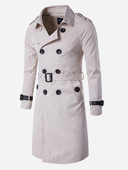 Slim Fit Double-Breasted Long Overcoat