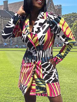 Stylish Printed Long Sleeve Blazer Dress