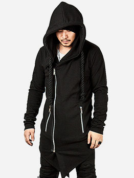 Solid Asymmetric Hem Hooded Outerwear