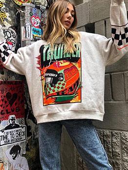 Hip Hop Printed Casual White Sweatshirt