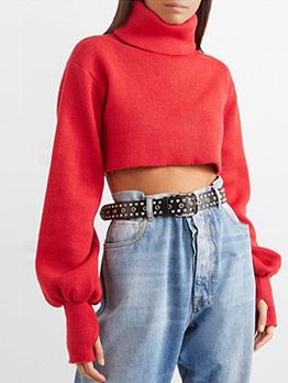 Lantern Sleeve Cropped Turtleneck Sweater