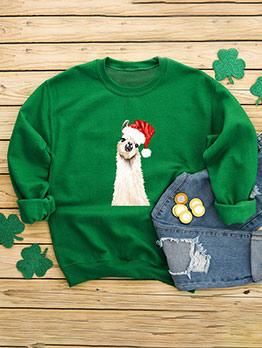 Christmas Cartoon Printed Loose Crewneck Sweatshirt