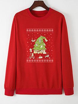 Christmas Three Printed Loose Crewneck Sweatshirt