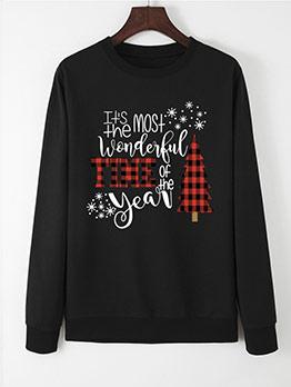 Fashion Letter Printed Christmas Sweatshirt
