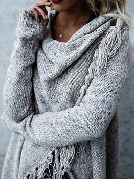 Solid Long Sleeve Tassel Irregular Knit Sweater