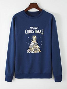 Fashion Cat Printed Christmas Sweatshirt