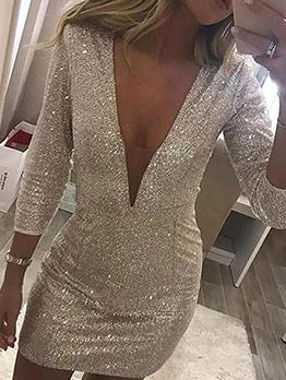 Sexy v Neck Bodycon Long Sleeve Mini Dress