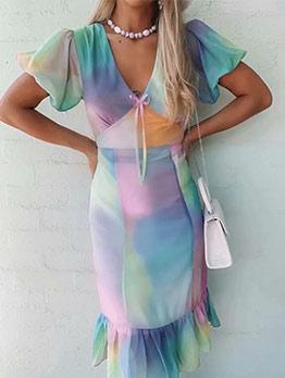 V Neck Graduated Color Short Sleeve Dress For Women