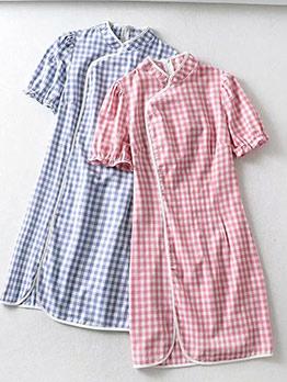 Stand Neck Plaid Short Sleeve Cheongsam Short Dress
