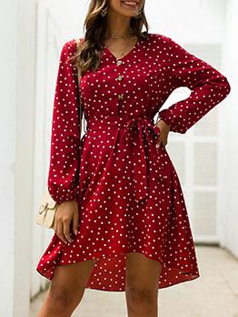 Polka Dots Empire Waist Women Wrap Dress