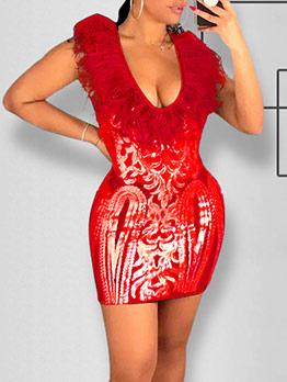 Low-Cut Feather Decor Long Sleeve Sequin Dress