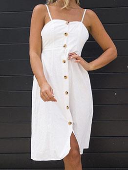 Single-Breasted Blackless White Sleeveless For Summer