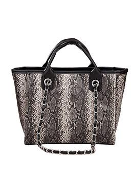 Snake Printed Pu Large Tote Bags