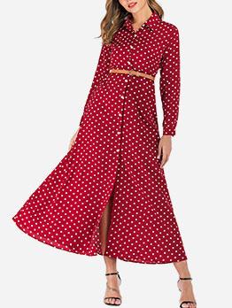 Single-Breasted Polka Dots Maxi Shirt Dress