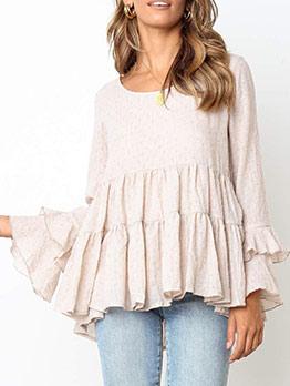 Ruffled Detail Solid Long Sleeve T-Shirt For Women