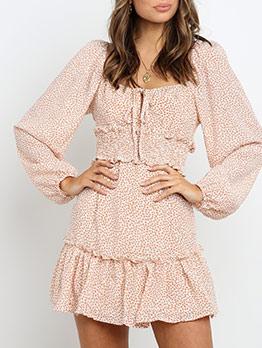 Square Neck Smart Waist Long Sleeve Print Dress