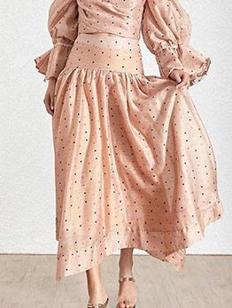 High Waist Irregular Polka Dot Maxi Skirt
