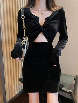 Sexy V Neck Hollow Out Black Long Sleeve Velvet Dress