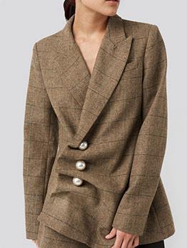 Boutique Chic Pearl Decor Irregular Plaid Blazer