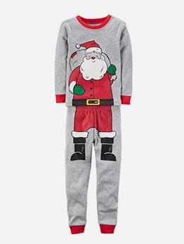 Cartoon Santa Print Two Piece Pants Set For Kids