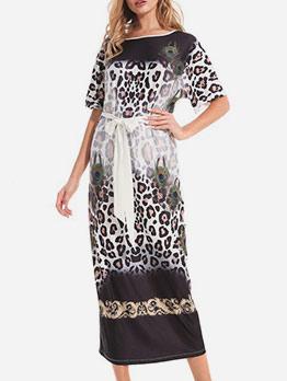 Short Sleeve Leopard Print Maxi Dress For Women