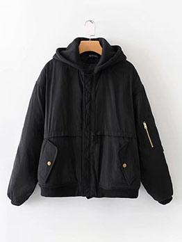 Contrast Color Hooded Long Sleeve Ladies Jacket