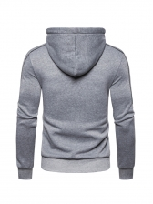 Fashion Contrast Color Zip Up Hoodies
