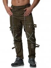 Metal Chain Buckle Design Cargo Pants For Men