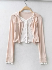 Pure Color Single Breasted Cotton Short Cardigan