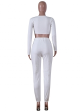 Solid Long Sleeve Cropped Workout Clothes For Women