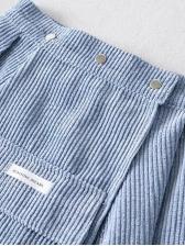 Corduroy Multiple Pockets Blue Two Piece Skirt Set
