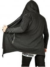 Solid Asymmetric Hem Hooded Outerwear