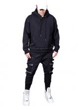 Simple Long Sleeve Solid Black Hoodie