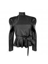 Mock Neck Bow Leather Ruffle Blouse