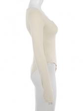 Scoop Neck Solid Long Sleeve Bodysuit