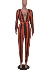Stitching Color Tie-Wrap Vertical Striped Jumpsuit