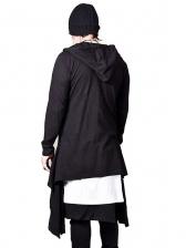 Loose Solid Zip Up Hooded Mens Coats
