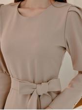 Graceful Solid Ladies Long Sleeve Wrap Dress