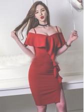 Ruffle Open Shoulder Slip Red Bodycon Dress
