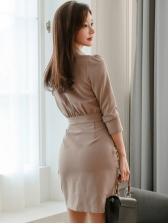 Ol Style Solid Drape Long Sleeve Shirt Dress