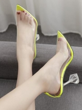 Transparent Pu Cone Heel Pointed Toe High Heels