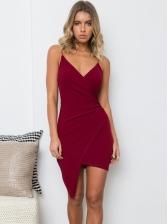 V Neck Asymmetric Hem Sexy Sleeveless Dress